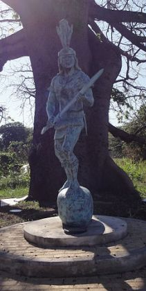 The Taino are an extinct people from the Caribbean, represented by this statue in Puerto Rico (Wikipedia).
