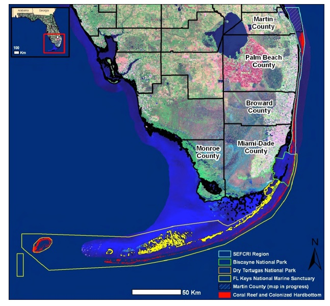 Biscayne National Park is the large blue outline, just east of Miami (Florida Ocean Alliance 2013)