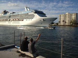 """Say hello to the corals."" A cruise ship leaves Port Everglades."