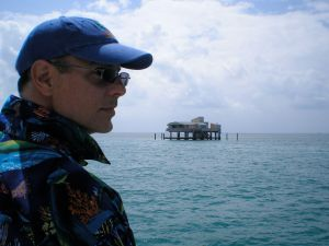 Looking at one of several structures in Stiltsville, within the park.